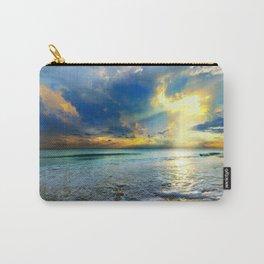 Blue Seascape Art Print Gold Sunrays Sunset Carry-All Pouch