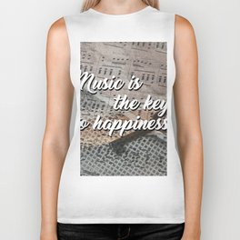 Music is the key to happiness Biker Tank