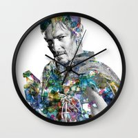 daryl dixon Wall Clocks featuring Daryl Dixon by NKlein Design