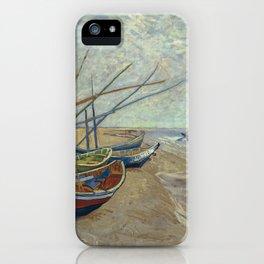 Fishing boats on the beach at Les Saintes-Maries-de-la-Mer iPhone Case