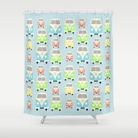 vans Shower Curtains featuring Camper Vans by Laura Maria Designs