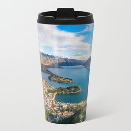 Queenstown Panorama at golden hour, New Zealand. Travel Mug
