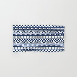Tribal Art Pattern Navy Blue Silver White Hand & Bath Towel
