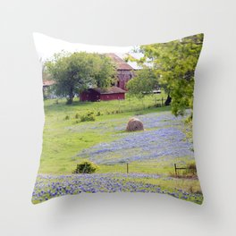 Old Red Barn and Rolling Bluebonnet Hills Throw Pillow