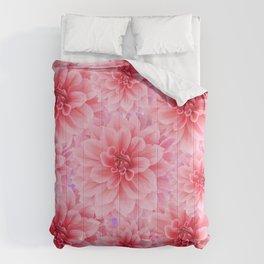 PINK DAHLIA FLOWERS IN GREY DESIGN Comforters