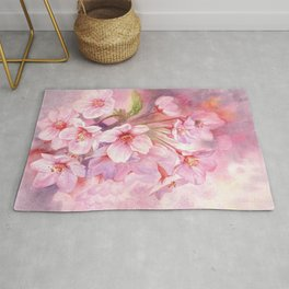 Cherry Blossom Pink Watercolor Illustration. Rug