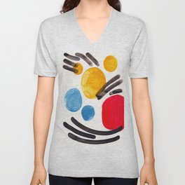 Mid Century Modern Abstract Juvenile childrens Fun Art Primary Colors Watercolor Minimalist Pop Art Unisex V-Neck