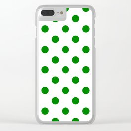 Polka Dots - Green on White Clear iPhone Case