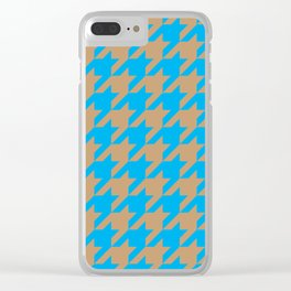 Houndstooth (Brown and Blue) Clear iPhone Case