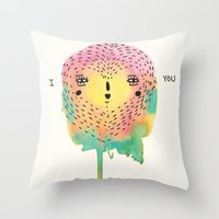 sloth Throw Pillows featuring sloth by Alba Blázquez