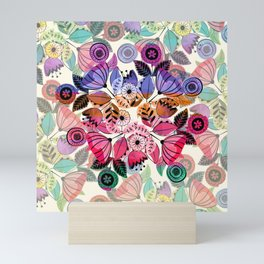 Pink and indigo flower pattern Mini Art Print