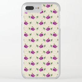 Hummingbirds & Bougainvillea Vintage Pattern Clear iPhone Case
