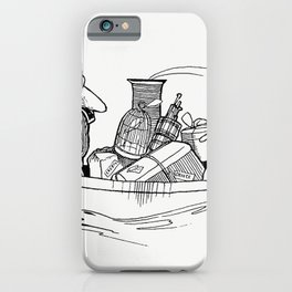 Vintage travelers on a boat from Verses For Grannies Suggested By The Children illustrated by Doroth iPhone Case