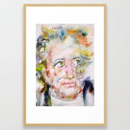 JOHANN WOLFGANG VON GOETHE - watercolor portrait Framed Art Print