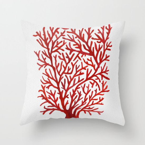 Throw Pillows With Red Coral : Red Coral Throw Pillow by Cat Coquillette Society6