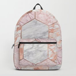 Rose gold princess marble hexagons Backpack
