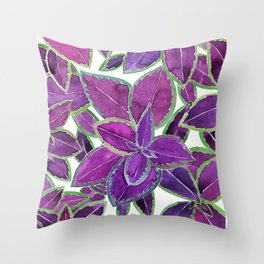 Purple leaves watercolor Throw Pillow