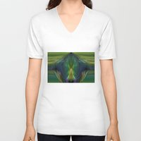 lantern V-neck T-shirts featuring Lantern Flame by Avril Harris
