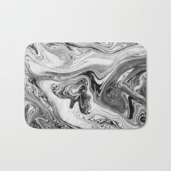Mizuki - spilled ink marbling paper marble swirl abstract painting original art india ink minimal Bath Mat
