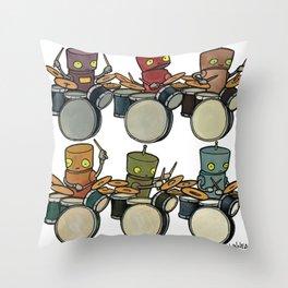 Robot - Drummers Throw Pillow