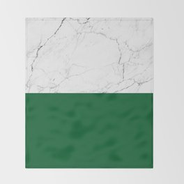 emerald green and white marble Throw Blanket