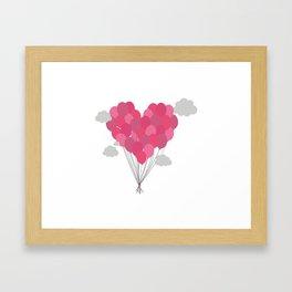 Balloons arranged as heart Framed Art Print