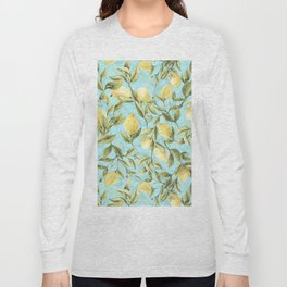 mediterranean summer lemon branches on turquoise Long Sleeve T-shirt