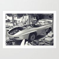 mercedes Art Prints featuring mercedes-benz 300SL by Sural Mustafa