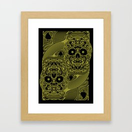 Ace of Spades Gold Skull Playing Card Framed Art Print