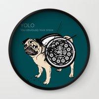 yolo Wall Clocks featuring YOLO by Huebucket