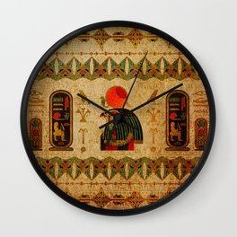 Egyptian Horus Ornament on Papyrus Wall Clock