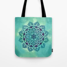 Green Blue Mandala Design Tote Bag