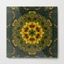 Large Yellow Wildflower Kaleidoscope Art 6 Metal Print