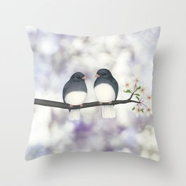 dark eyed juncos (bokeh and blossoms) Throw Pillow