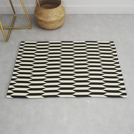 BW Oddities I - Black and White Mid Century Modern Geometric Abstract Rug