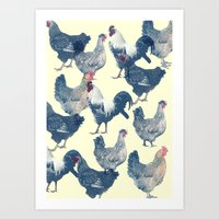 chicken Art Prints featuring CHICKEN by austeja saffron