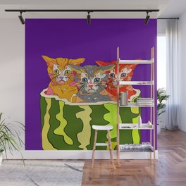 Cats in Watermelon Jacuzzi - Tropical Wall Mural