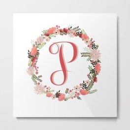 Personal monogram letter 'P' flower wreath Metal Print