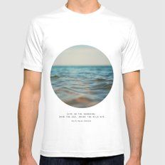 Swim The Sea MEDIUM White Mens Fitted Tee