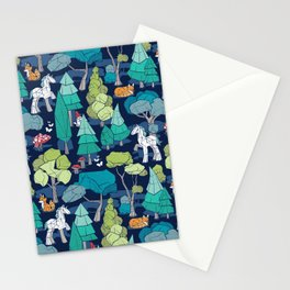 Geometric whimsical wonderland // navy blue background green forest with unicorns foxes gnomes and mushrooms Stationery Cards