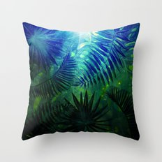 Blue Aloha- Morning Light abstract Tropical Palm Leaves and Monstera Leaf Garden Throw Pillow