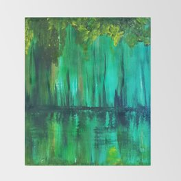 Green reflection Throw Blanket