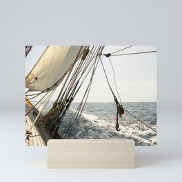 sailing onboard a classic yacht- nautical photography Mini Art Print