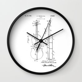 patent art Brown et al Violin 1930 Wall Clock