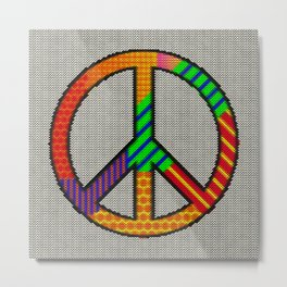Peace – Knitting Style Metal Print