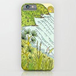 pointbreaks in paradise // lookout in raglan new zealand // retro surf art by surfy birdy iPhone Case