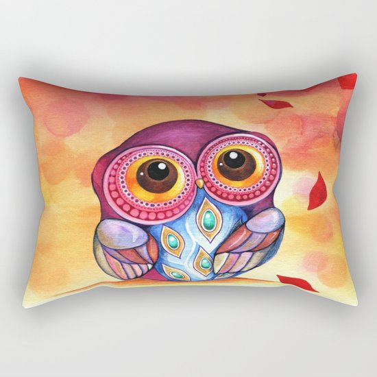 Owl's First Fall Leaf Rectangular Pillow