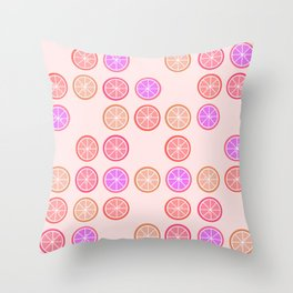 Pink Juicy Fruit Slices Throw Pillow