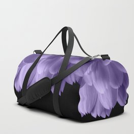 Ultra violet purple flower petals black Duffle Bag