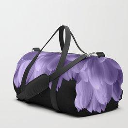 Ultra violet purple flower petals black Duffle Bag